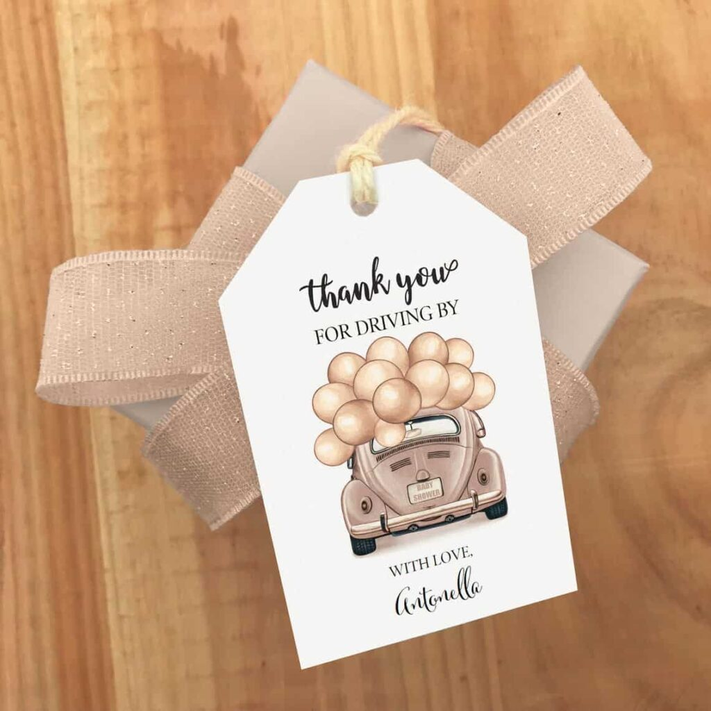 Drive-By Baby Shower favor tag ideas
