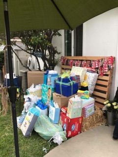 Drive-By Baby Shower gift area