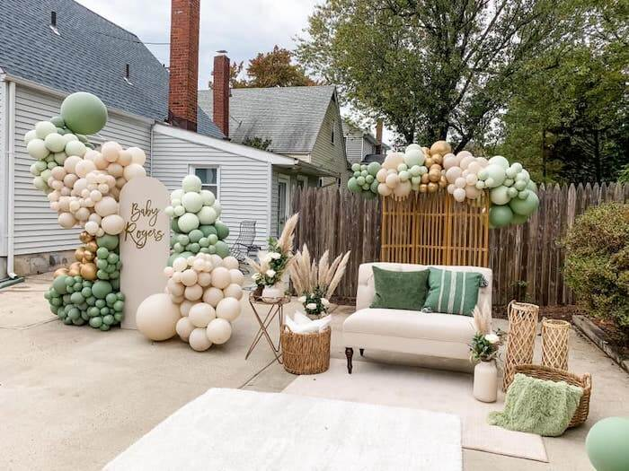 Drive-By Baby Shower theme ideas gold and green(1)