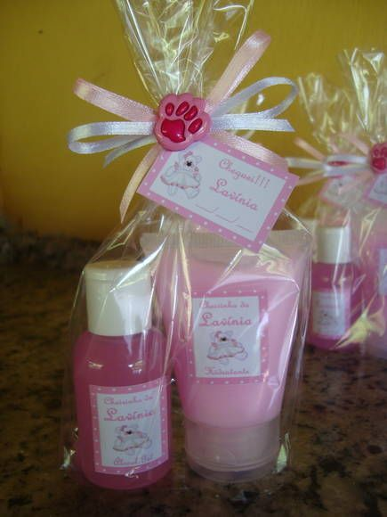 Moisturizer and Liquid Soap in baby shower gift bags
