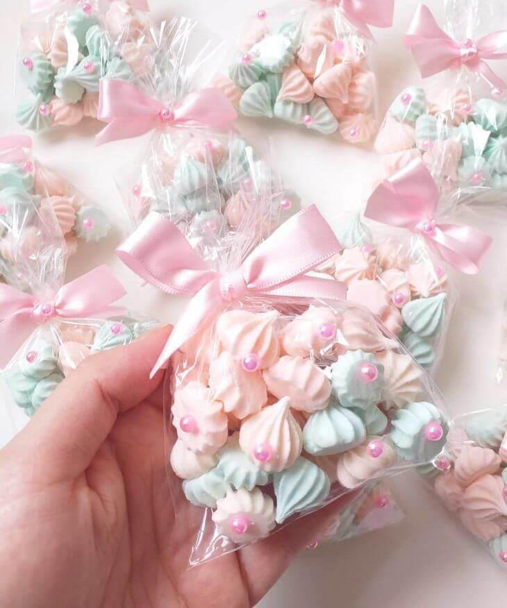 Meringue cookies in baby shower gift bags
