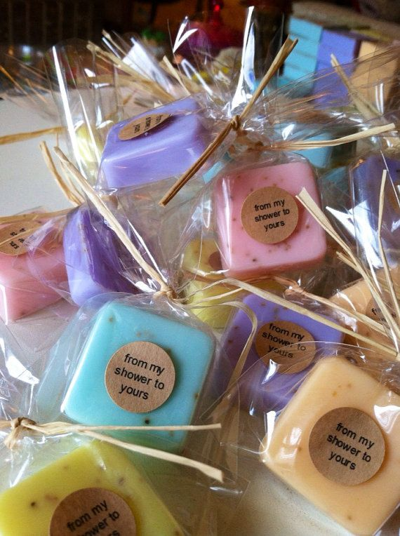 little cute soaps in baby shower clear plastic bags