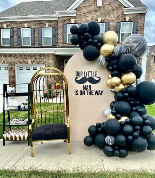 drive by baby shower mostash theme black and gold