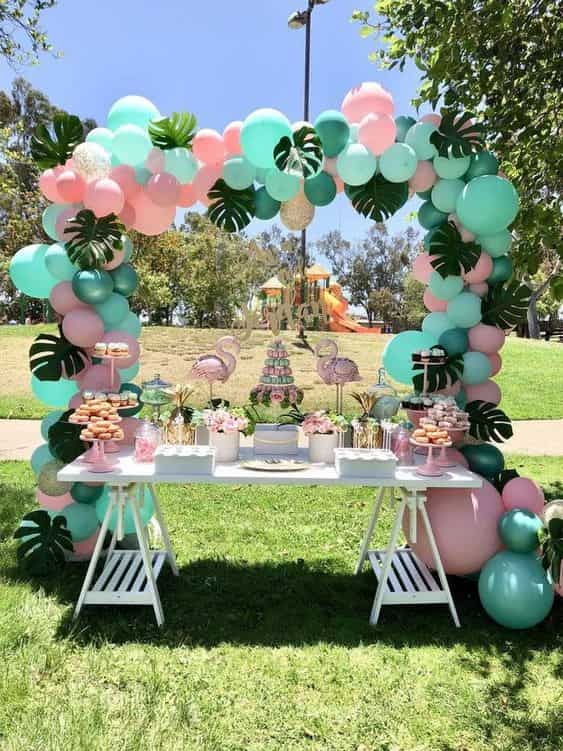 drive-by baby shower flamingo theme