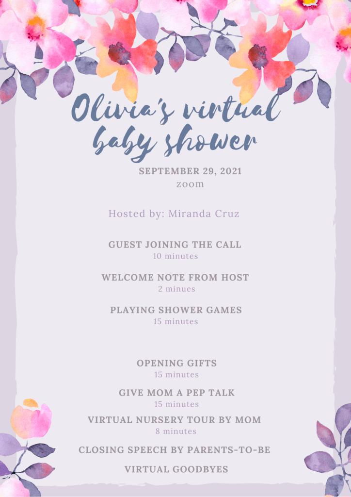 Virtual baby shower Agenda