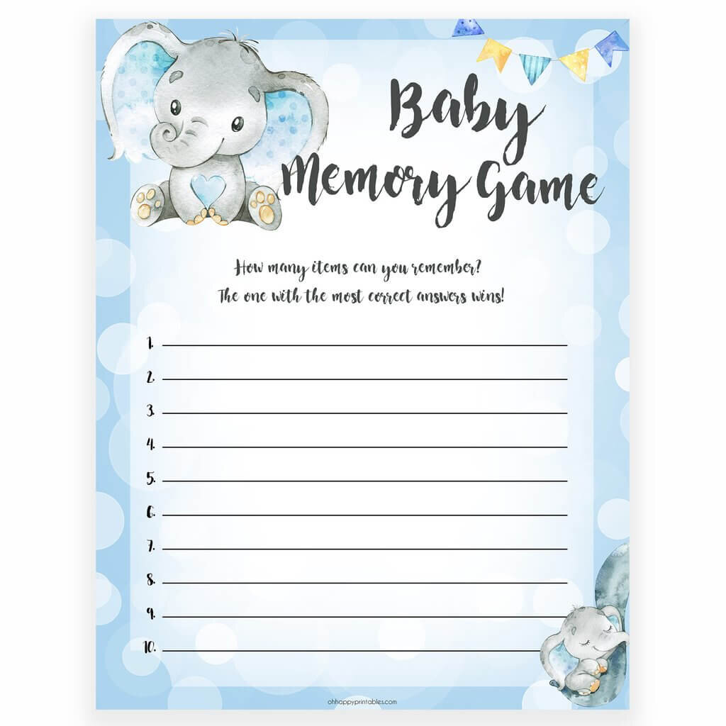 Elephant themed baby shower games.
