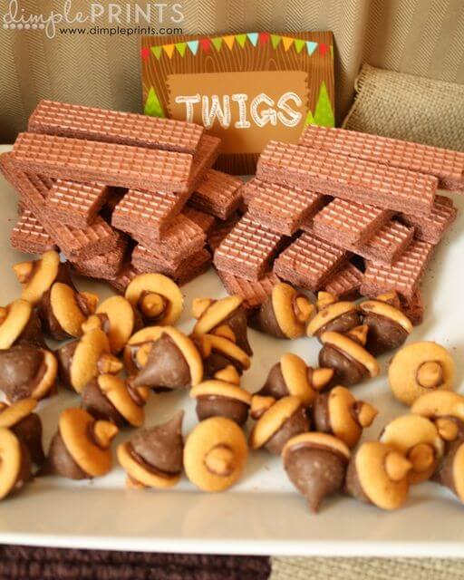 Woodland themed baby shower food