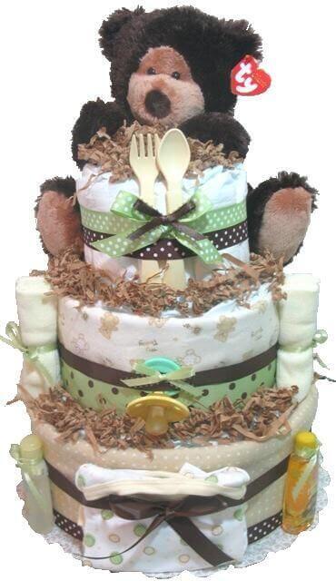 woodland baby shower diaper cake ideas