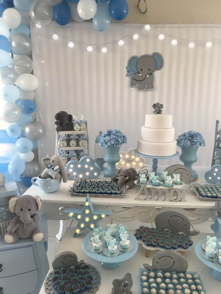 Elephant themed baby shower decorations.