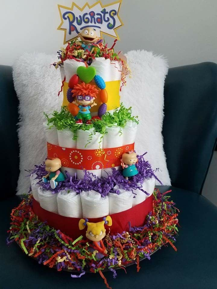 Rugrats baby shower diaper cake