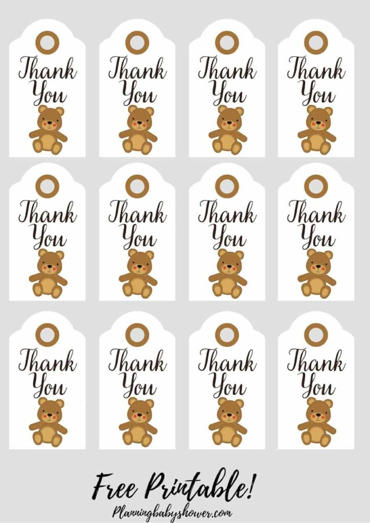 Teddy Bear baby shower theme Thank You Tags Printable