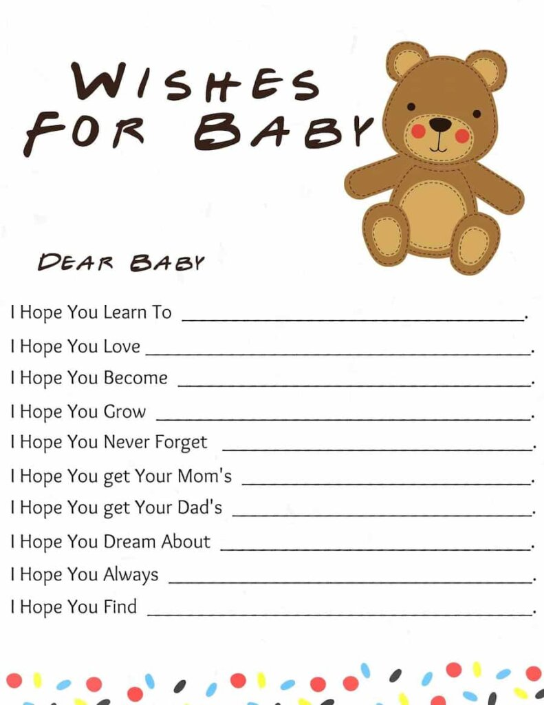 Teddy Bear themed baby shower Wishes for baby free printable.pdf