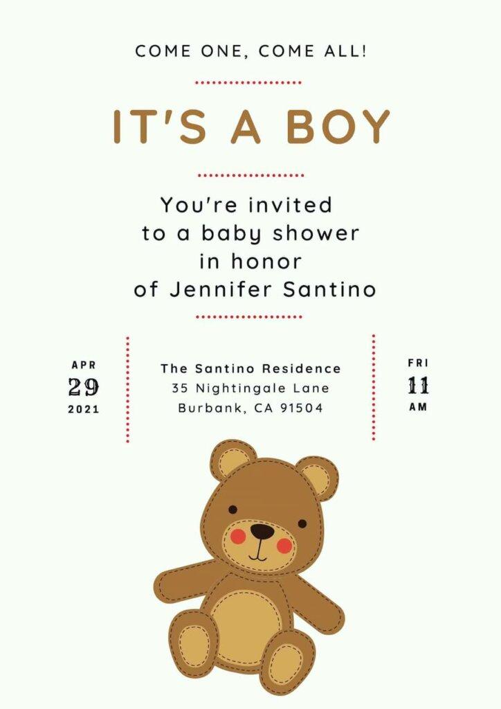 Teddy bear themed baby shower invitation free
