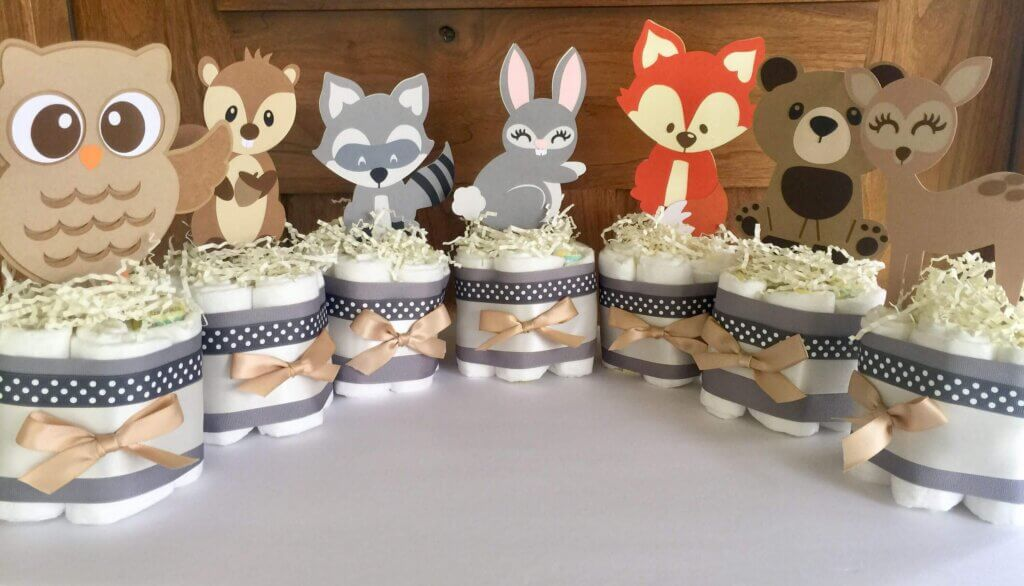 Woodland themed baby shower centerpieces Diaper Cakes