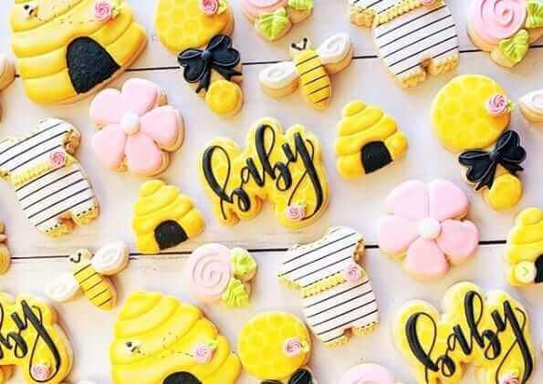 Bee Themed Baby Shower cookies