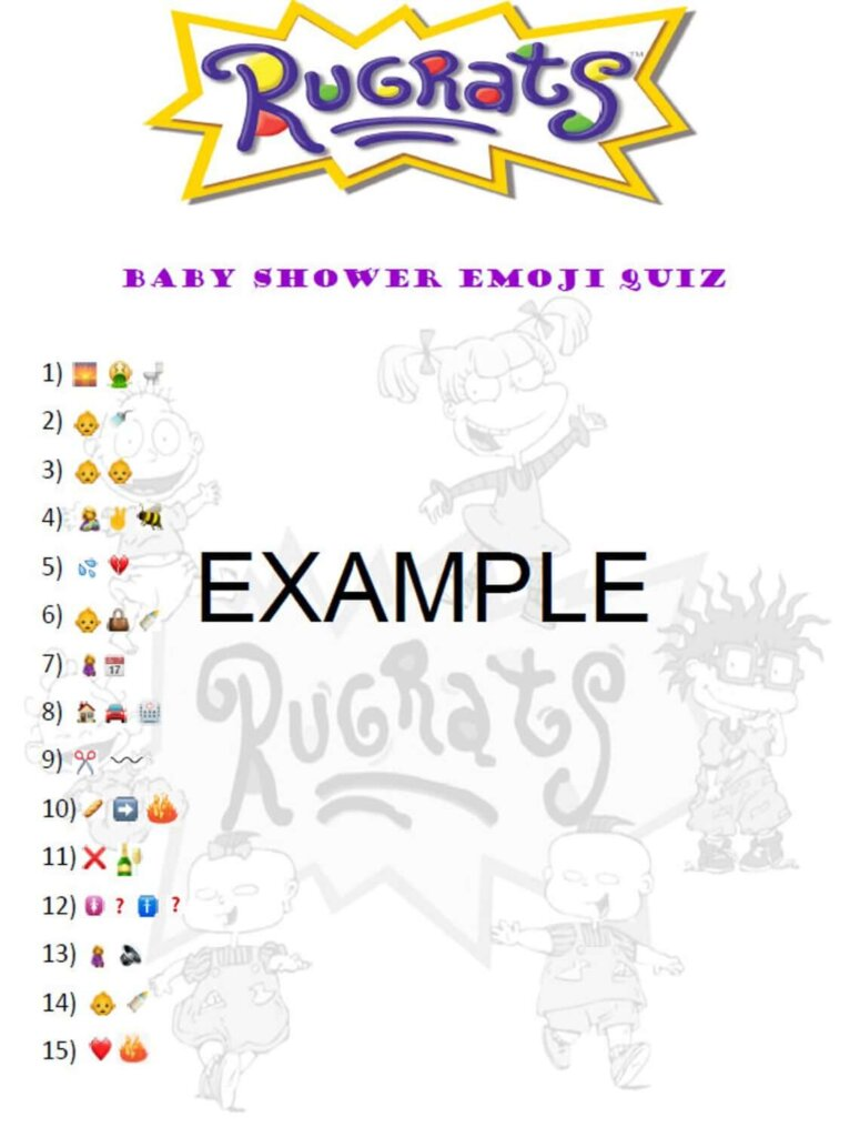Rugrats baby shower games
