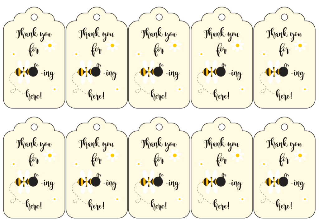 bee baby shower free printable