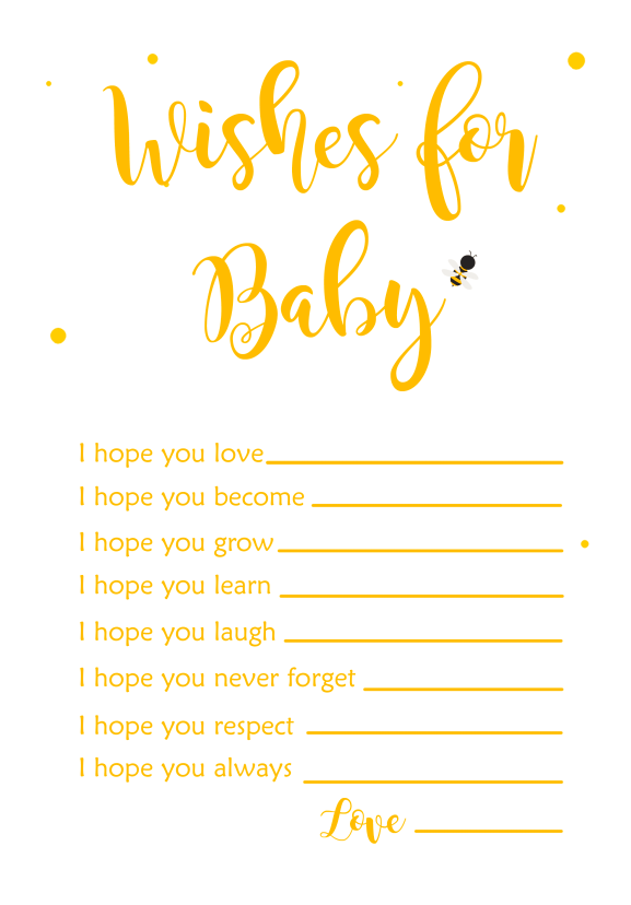 Bee themed baby shower free printable