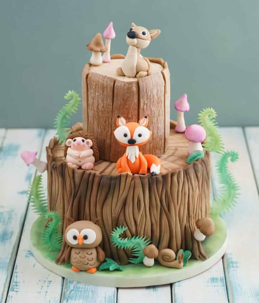Woodland themed baby shower cake