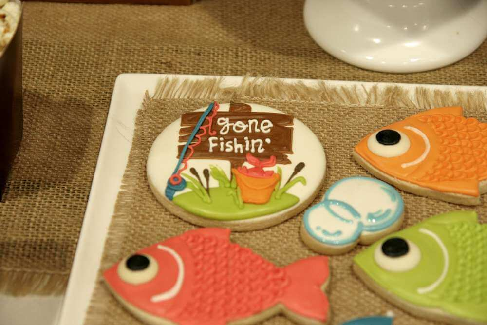 Fishing themed baby shower cookies