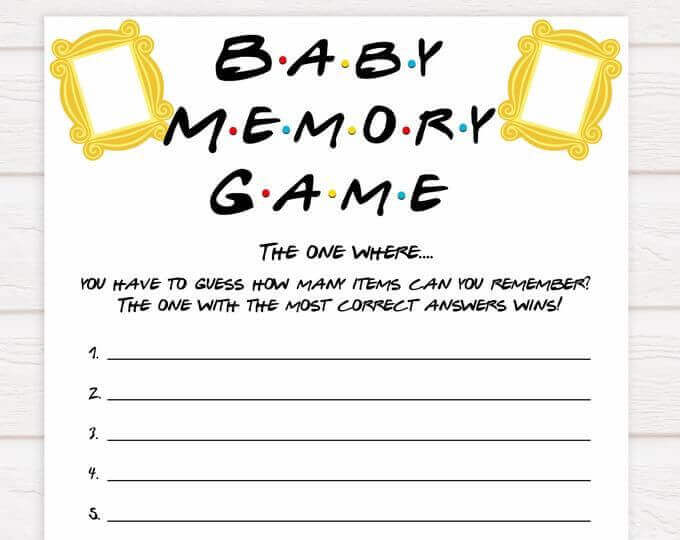 Friends themed baby shower games