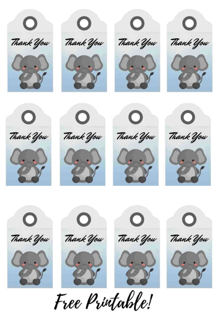 Elephant baby shower theme Thank You Tags