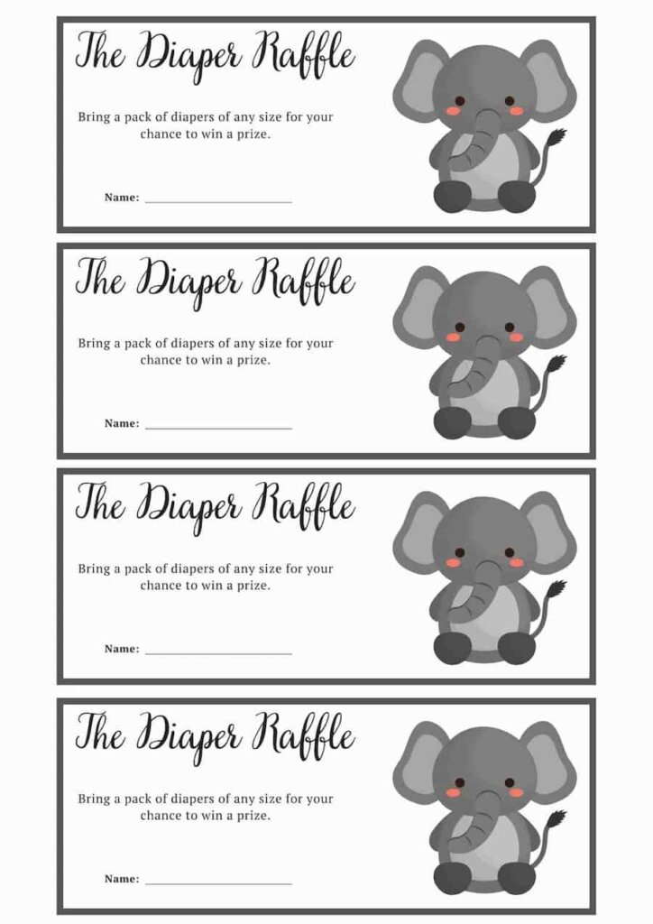 Elephant themed baby shower Baby Diaper Raffle Ticket printable free