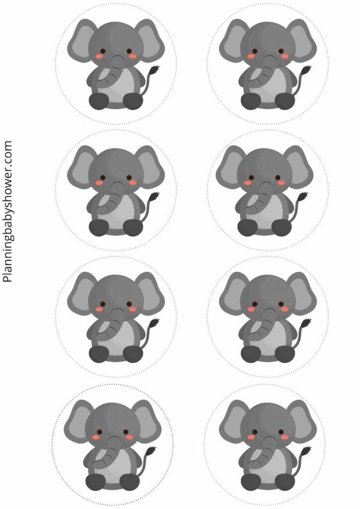Elephant themed baby shower cake toppers free printable