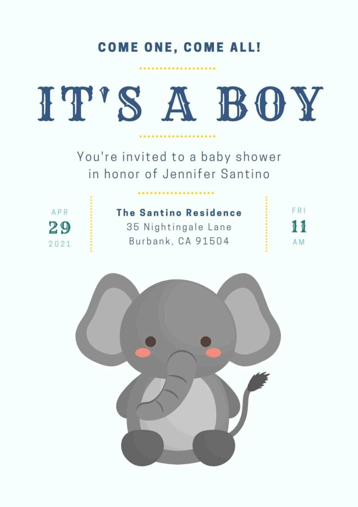 Elephant themed baby shower invitation free Printable