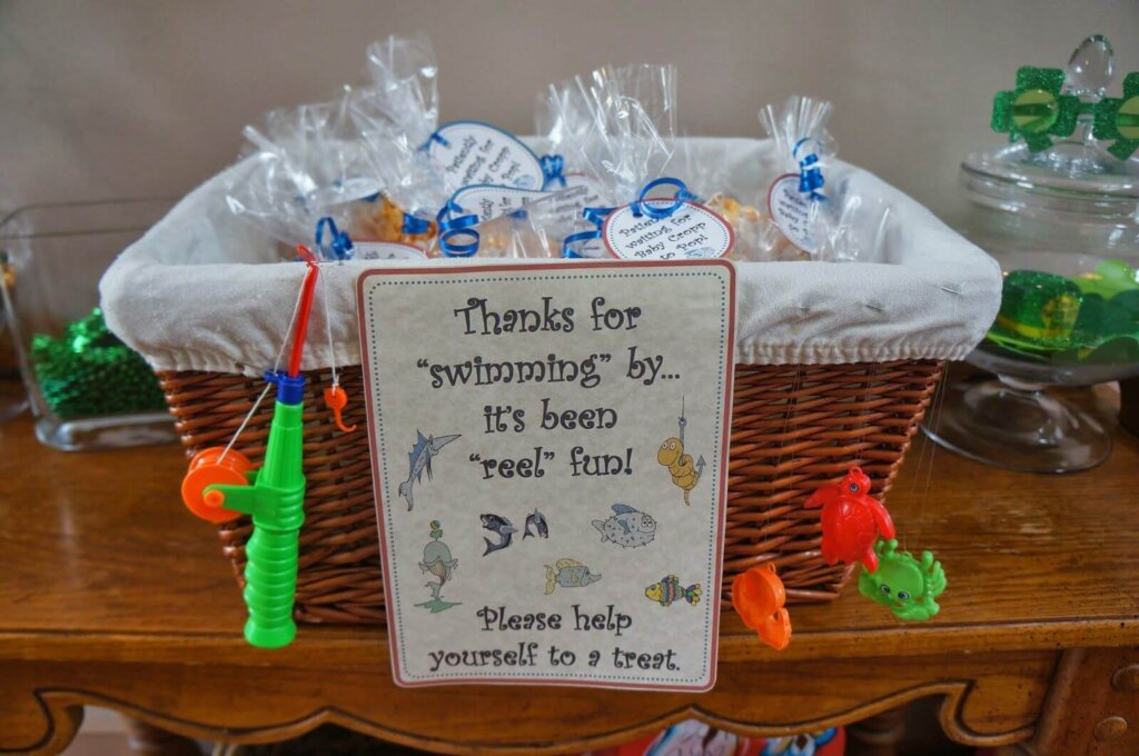 Fishing themed baby shower favors