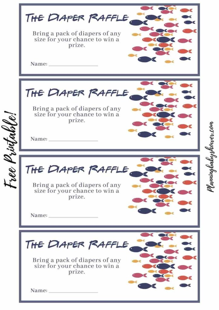 Fishing themed baby shower Baby Diaper Raffle Ticket printable free