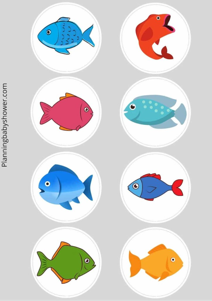 Fishing themed baby shower cake toppers free printable