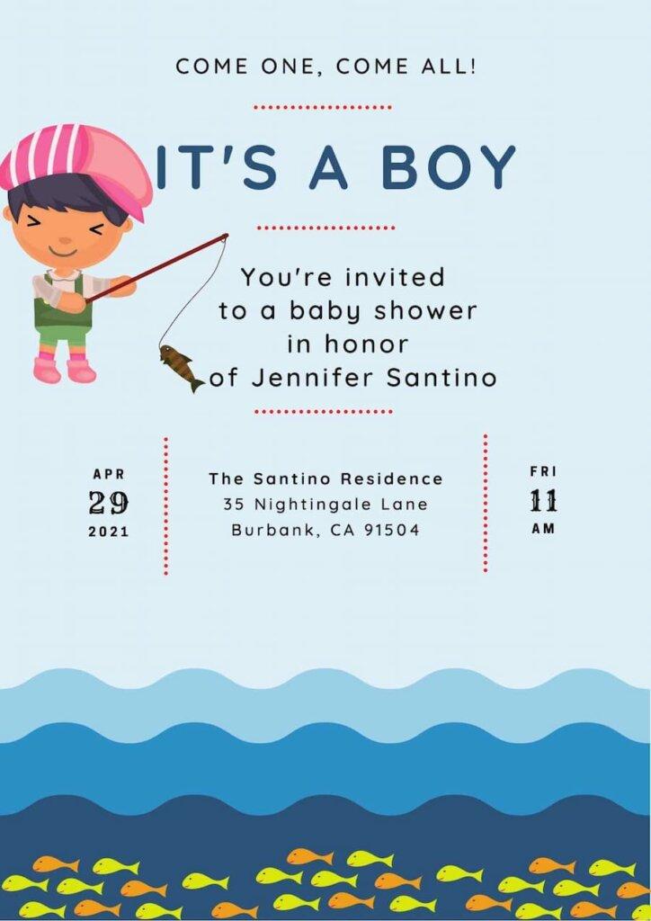 Fishing themed baby shower invitation free
