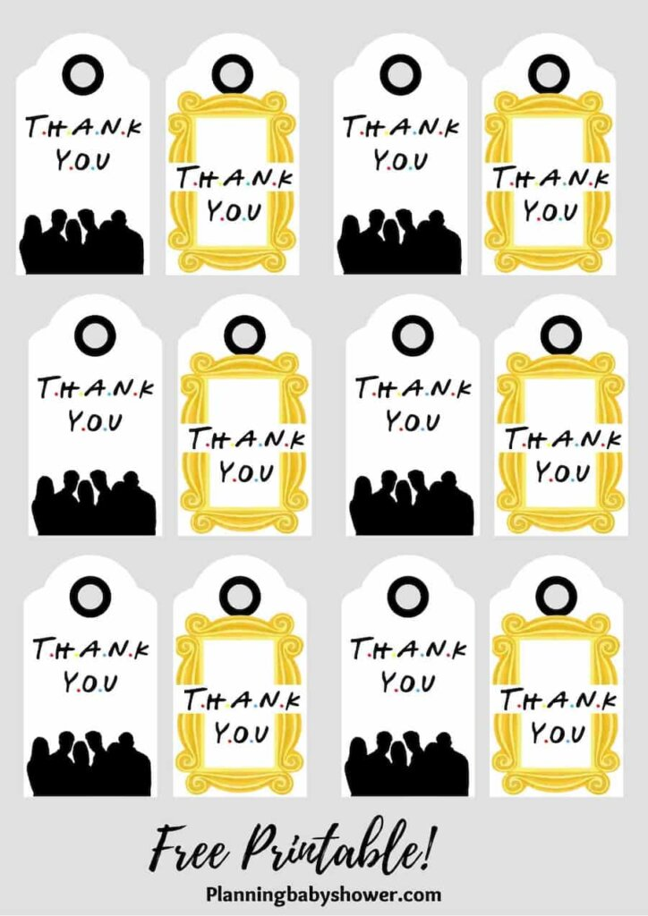 Friends baby shower theme Thank You Tags Printable