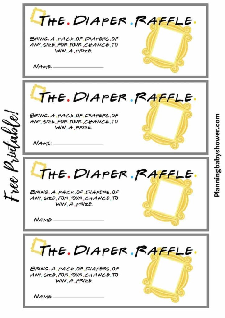 Friends themed baby shower Baby Diaper Raffle Ticket printable free
