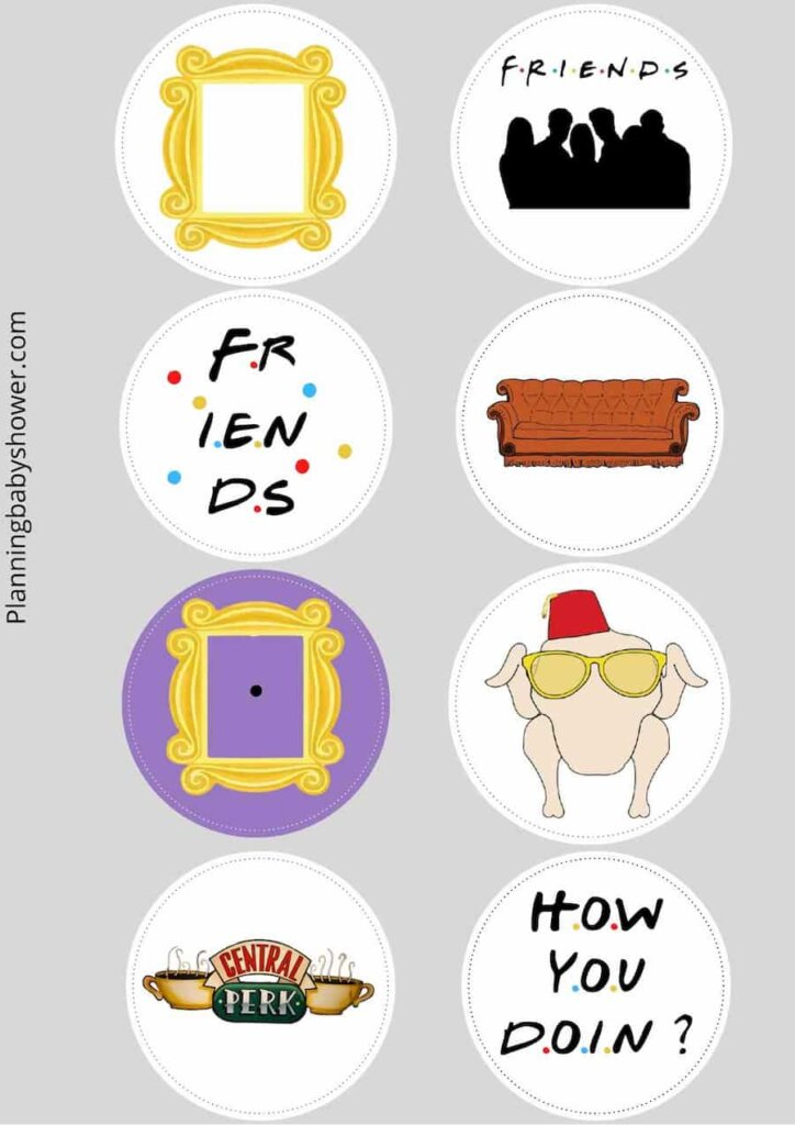 Friends themed baby shower cake toppers free printable