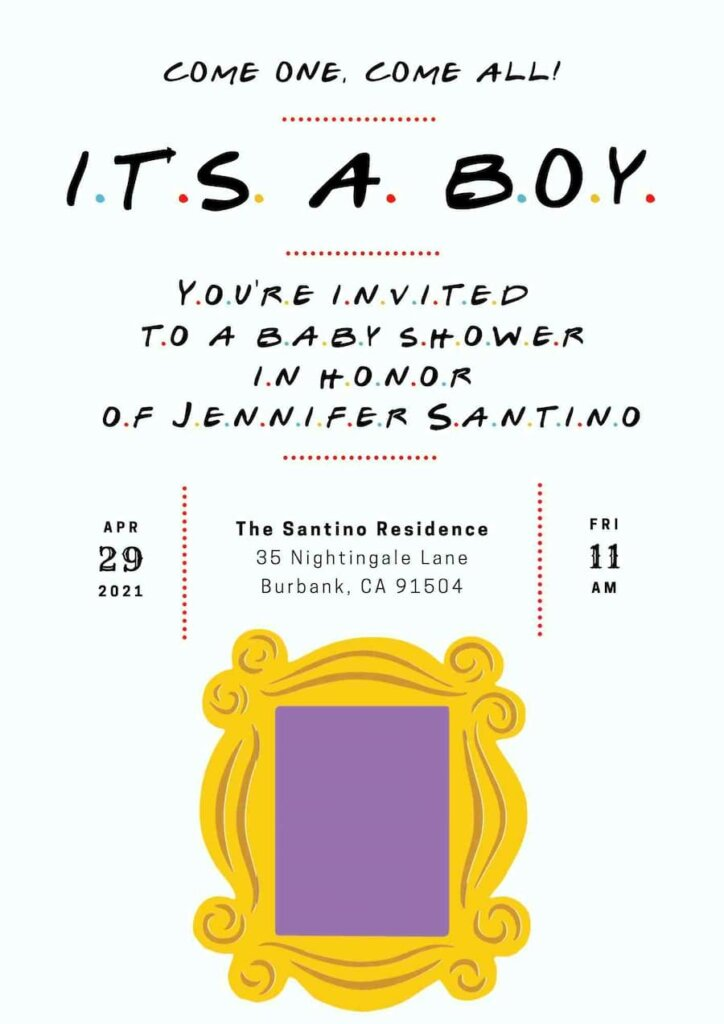 Friends themed baby shower invitation free
