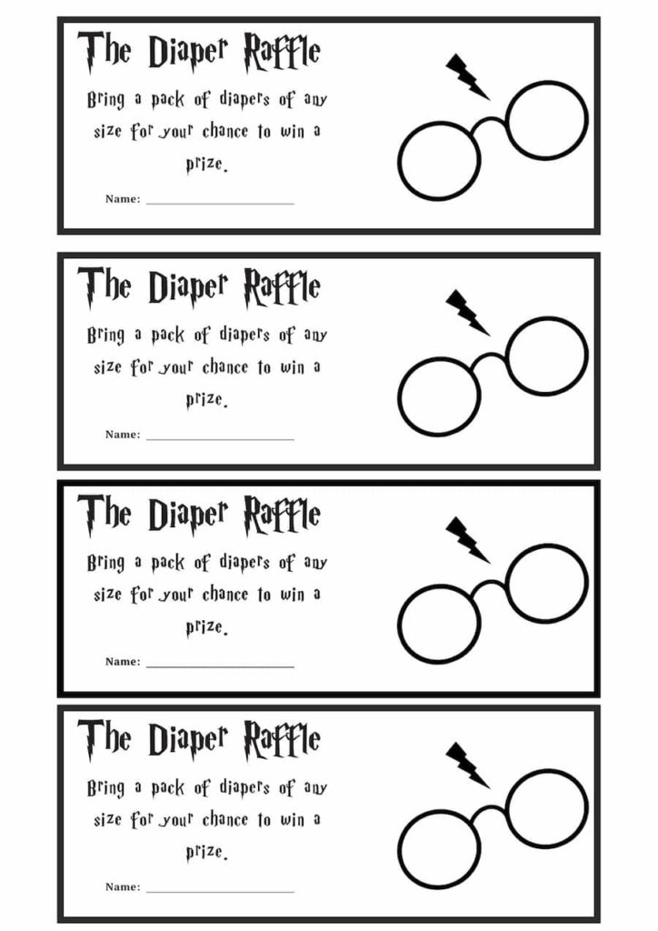 Harry potter themed baby shower Baby Diaper Raffle Ticket printable free