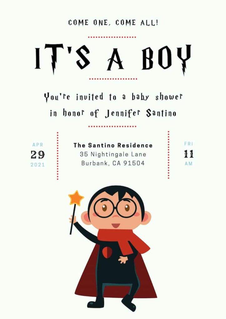 Harry potter themed baby shower invitation free