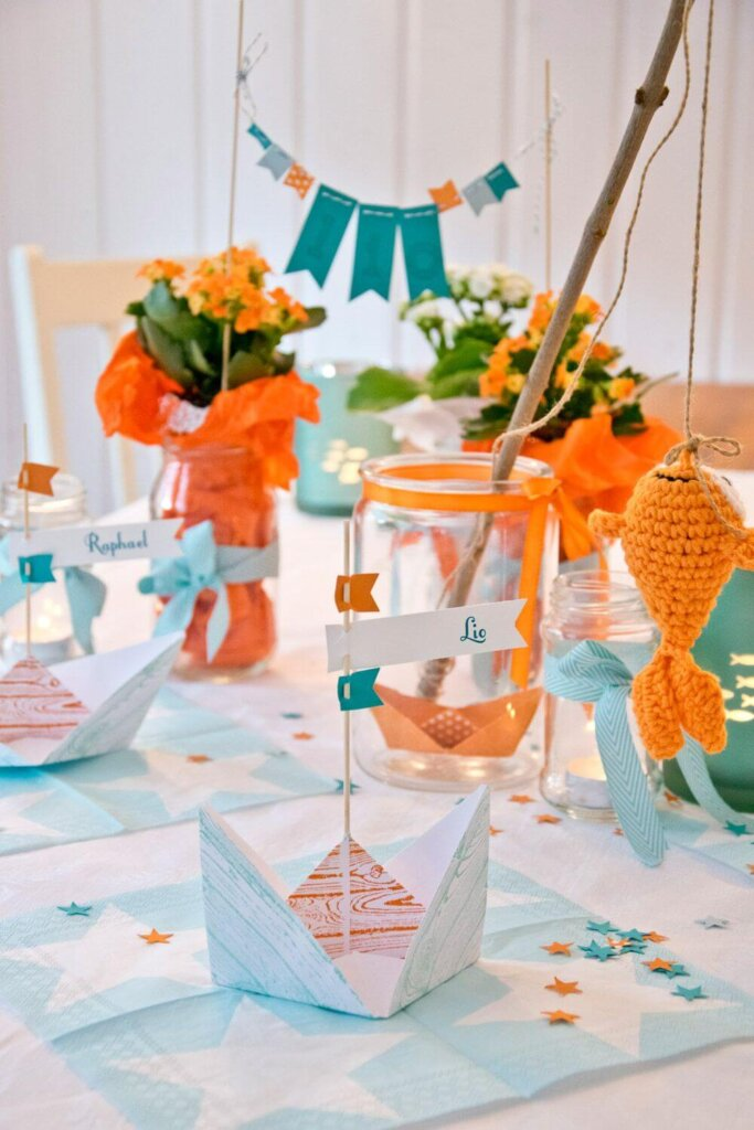 Fishing themed baby shower decorations