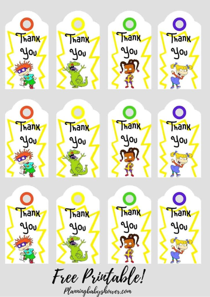 Rugrats baby shower theme Thank You Tags Printable