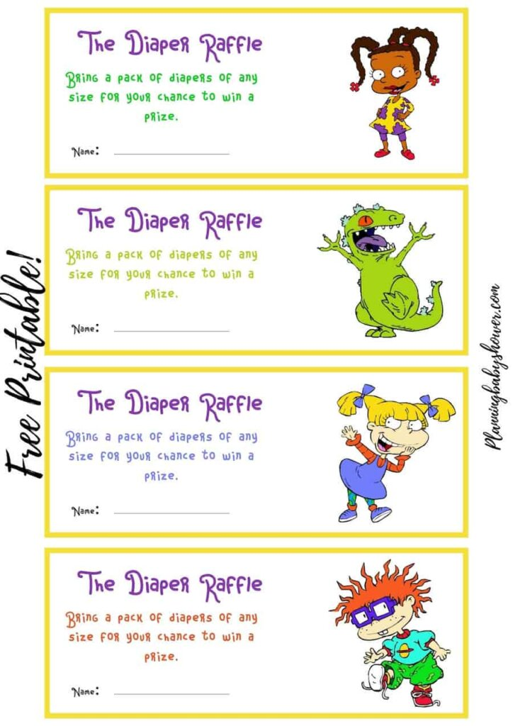 Rugrats themed baby shower Baby Diaper Raffle Ticket printable free