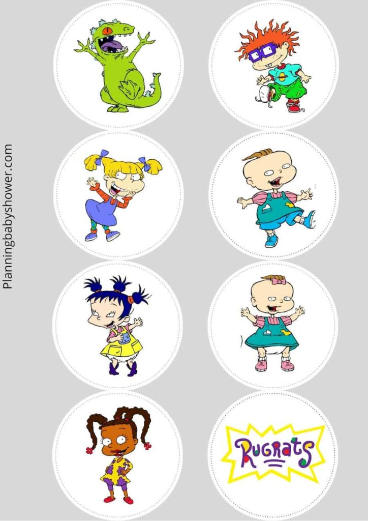 Rugrats themed baby shower cake toppers free printable