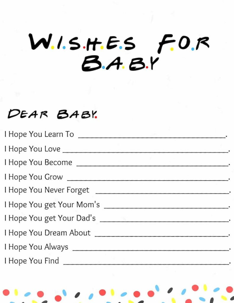 Wishes for baby Friends themed baby shower free printable.pdf