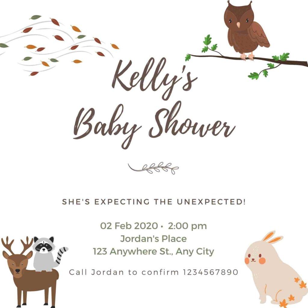 Woodland baby shower invitation free