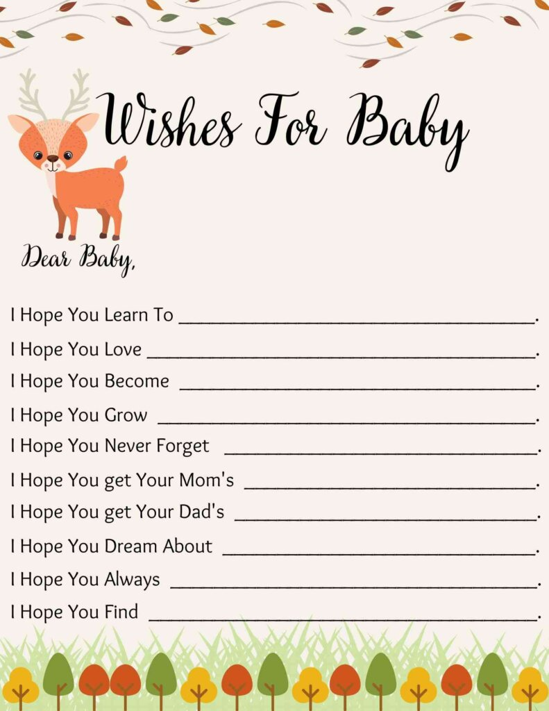 wishes for baby woodland themed baby shower free printable.pdf