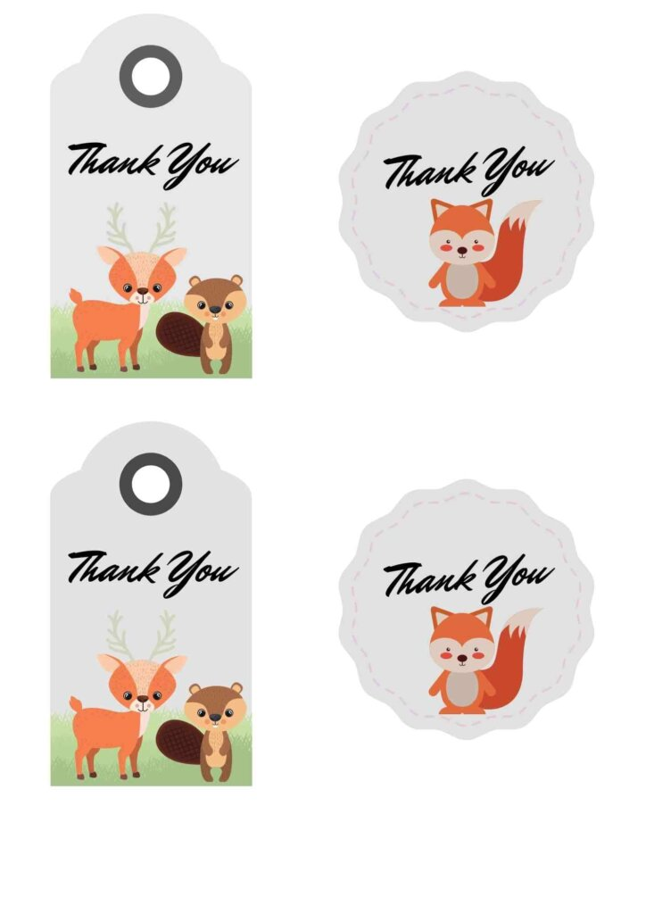 free woodland baby shower theme Favor tagsThank You Tags