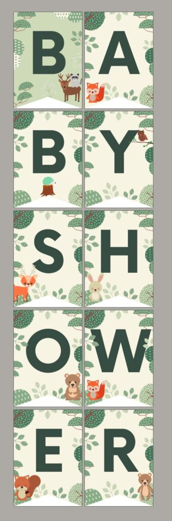 woodland baby shower theme printable free