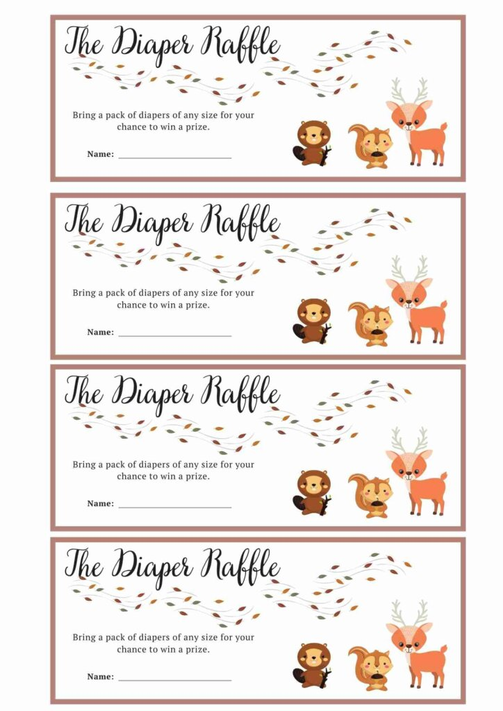 woodland themed baby shower Baby Diaper Raffle Ticket printable free