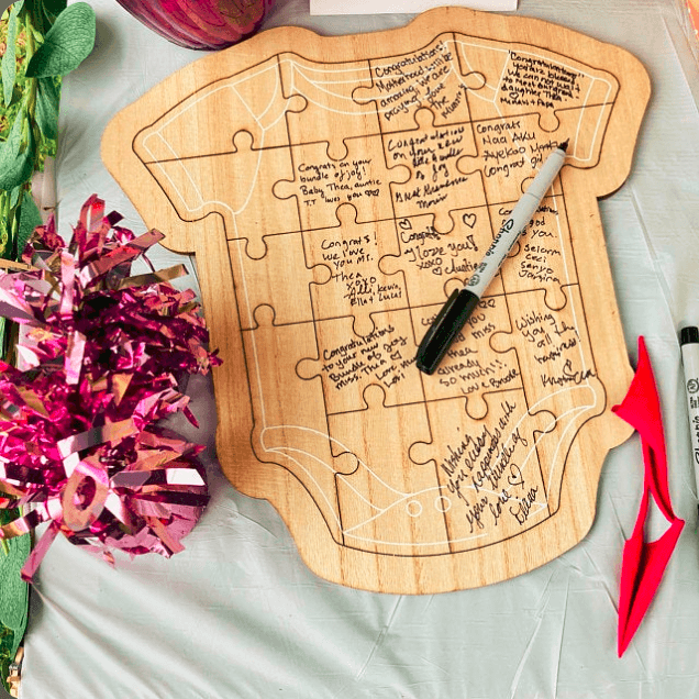 The Puzzle baby shower Guest Book